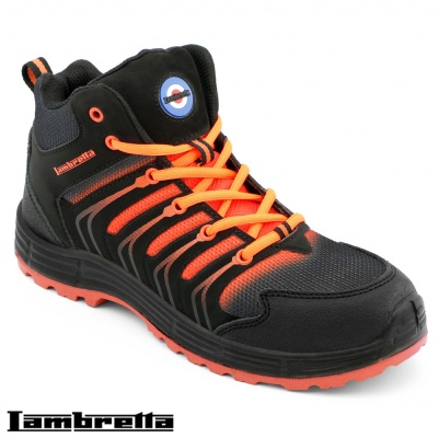 Lambretta Black/Orange SBP/SRA Hi-Top Style Safety Boot - DB004