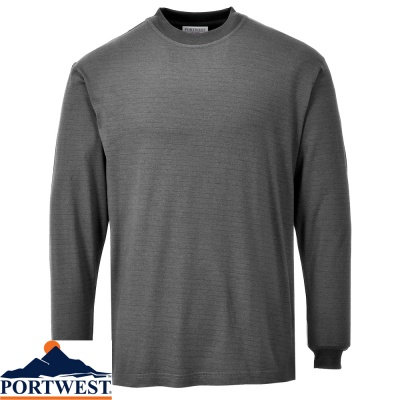 Portwest Flame Retardant Anti Static Long Sleeve T Shirt - FR11