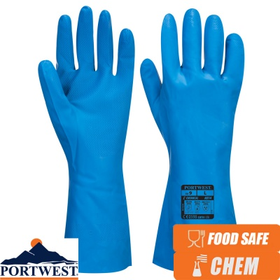 Portwest Food Approved Nitrile Chemical Protection Gauntlet - A814