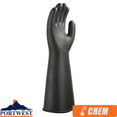 Portwest Heavyweight Latex Rubber Chemical Protection Gauntlet - A802