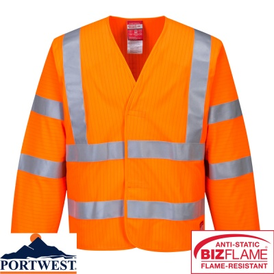 Portwest Hi-Vis Anti Static Flame Resistant Jacket - FR85