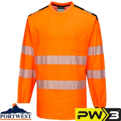 Portwest PW3 Hi-Vis T-Shirt Long Sleeve - T185