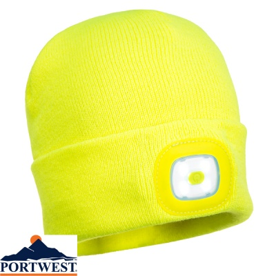 Portwest  USB Rechargeable LED Head Light Beanie - B029