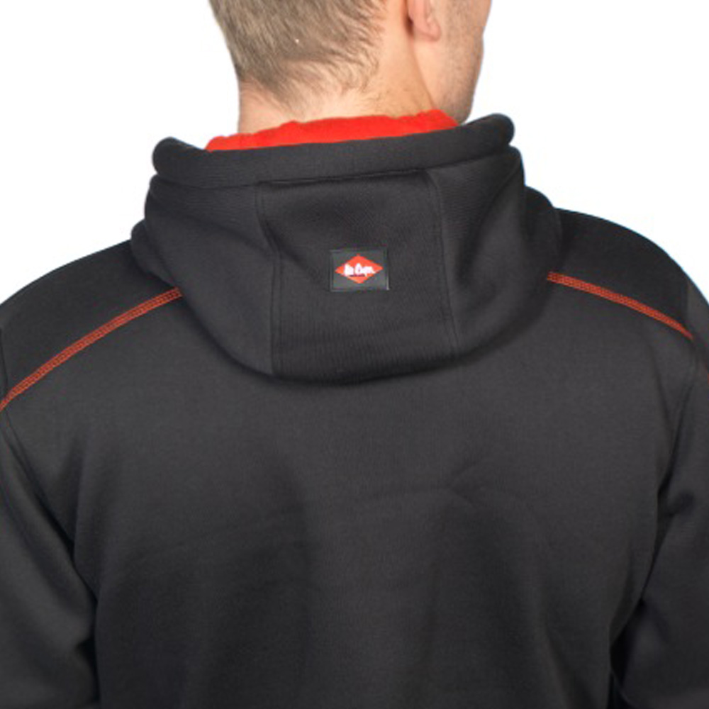 Lee Cooper Mens Black Bonded Fleece Hooded Top Hoody Hoodie Zip Front Work Wear