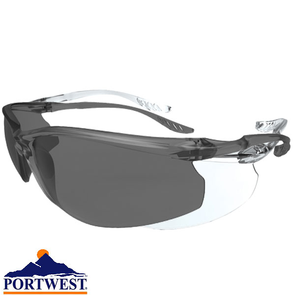 PORTWEST PS04 Defender clear or smoke polycarbonate safety spectacle