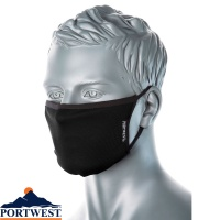 Portwest 3-Ply Anti-Microbial Fabric Face Mask (Pk25) - CV33