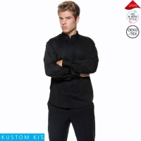 Kustom Kit Mens Long Sleeve Mandarin Collar Bar Shirt - KK123