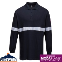 Portwest Flame Resistant Anti-Static Long Sleeve Polo Shirt with Reflective Tape - FR03