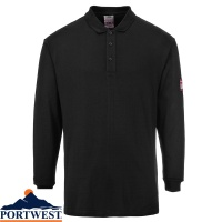 Portwest Flame Resistant  Antistatic Long Sleeved Polo Shirt - FR10