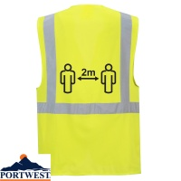 Portwest Hi-Vis 2m Social Distancing Executive Vest - CV76