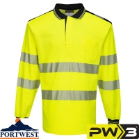 Portwest PW3 Hi-Vis Polo Shirt Long Sleeve - T184