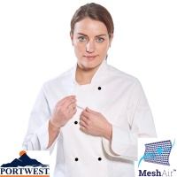 Portwest Rachel Ladies Long Sleeve Chefs Jacket - C837