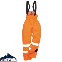 Portwest Rain Lined Hi Vis Breathable Antistatic Flame Retardant Trousers - S781
