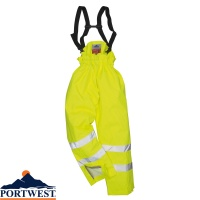 Portwest Unlined Hi-Vis Breathable Antistatic Flame Retardant Trousers - S780