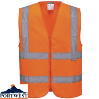 Portwest Hi-Vis Zipped Band & Brace Vest - C375