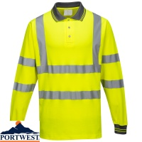 Portwest Hi Vis Long Sleeved Cotton Comfort Polo - S271