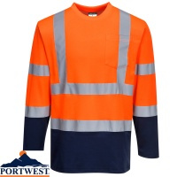Portwest Hi Vis Two-Tone Long Sleeved Cotton Comfort T-shirt - S280