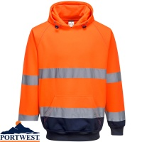 Portwest Two-Tone Hooded Hi Vis Sweatshirt - B316