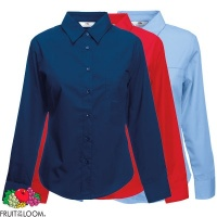 Fruit of the Loom Ladies Long Sleeve Poplin Shirt - SS012